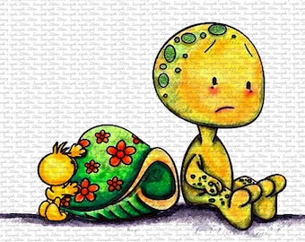 Turtle and Duck Digital Stamp by Sasayaki Glitter Line art only