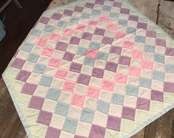 Vintage Hand Quilted Baby Quilt or Table Topper