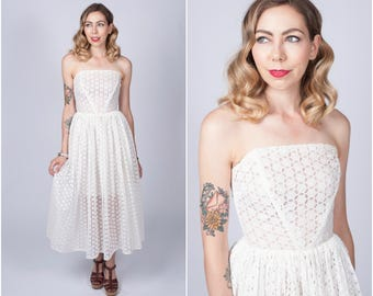 Vintage 1950's White Eyelet Strapless Dress/ 50's Fit and Flare White Tea Length Dress Size X-small