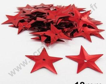 Sequin glitter - Red Star - 18mm - 30 x