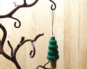 Needle felted Christmas tree/ topairy tree ornament.