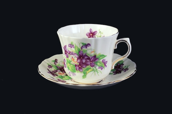 Cup and Saucer, Bone China, Made In England,  Purple Violets Pattern, Gold Trim