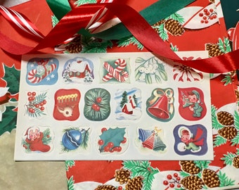 Vintage Christmas Wrapping Paper Ribbon Seals Mid-century 1950s