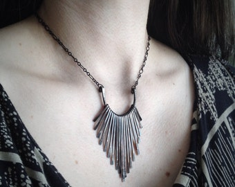 Copper Necklace - Fringe Freya Design - Oxidized and Sanded - made by Jamie Spinello
