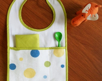 Baby bib with spoon and napkin cover pattern. pdf pattern
