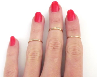 Gold Midi Ring - Ultra Skinny - Stacking Ring - 14k Gold Filled - Knuckle Ring