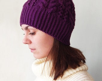 Knitted violet hat, purple hat, womens hat, knitted winter hat, knit hat women