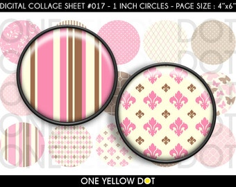 INSTANT DOWNLOAD - 1 Inch Circles Digital Collage Sheet - Pink and Brown Patterns - Bottle Caps Scrapbooking Pendant Magnets Tags - 017