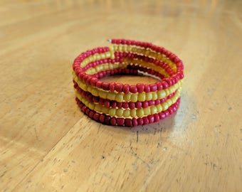Red and Yellow Bracelet, Stacked Bracelet, Beaded Bracelet, Wire Bracelet, Red Bracelet, Yellow Bracelet, Boho Bracelet