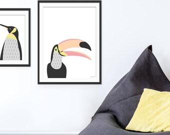 Toucan Art Print, Toucan Art, Toucan Picture, Tropical Birds, Nursery Wall Art, Children's Art, Wall Decor