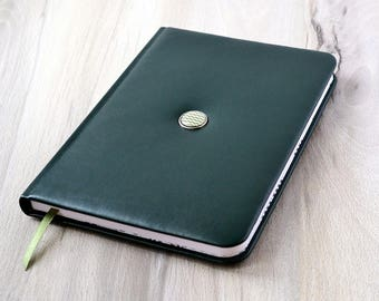 Vegan notebook Journal A5 Writing journal Men's notebook Vegan leather journal A5 Artificial leather notebook Lined journal Green notebook