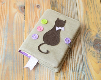 Notebook with cat, Small planner, Cat notebook, Cute notebook, Fabric notebook, Notebook, Pocket book, Notebook with cover, Blank book
