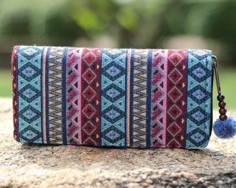 Colorful Pastel Geometric Cute  Women's Wallet   Long Wallet    Hippie wallet   Vegan wallet   wallet    Fabric wallet   Bohemian Purse