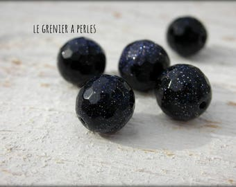 Faceted 10 mm Blue Goldstone gems beads X 5