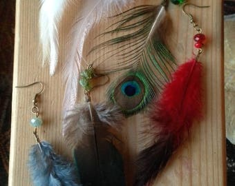"""Earrings """"feathers"""", Rooster feathers, pink, white, red, blue gray, Peacock feather"""
