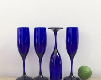 Vintage Cobalt Blue Champagne Flutes Glasses Set of Four 4 Vintage Toasting Barware