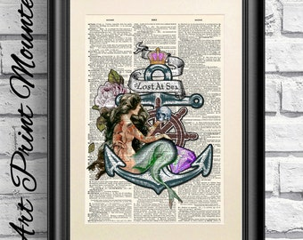 Mermaid Print, Nautical Prints, Dictionary Book Page Print Nautical Prints, Lost at Sea Quotation.