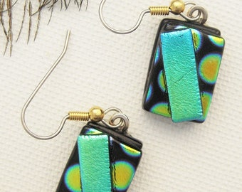 Green fused glass - Dichroic Fused Glass Earrings - Hippie Earrings -  Dichroic Jewelry- Bohemian Earrings - fused glass jewelry - OOAK