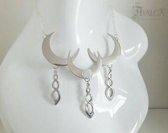 Moonstone necklace- statement jewelry