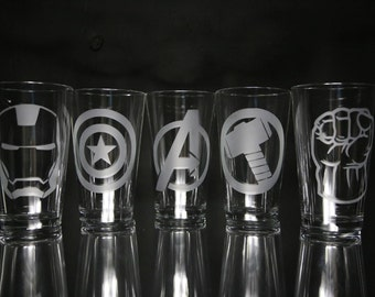 Avengers Etched Glass Set, Glassware, Personalized Glass, Personalized Gift, Custom Gift, Unique Gift, Gift for him, Gift for her.