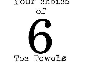 Six FRENCH SILVER DESIGN Flour Sack Tea Towels