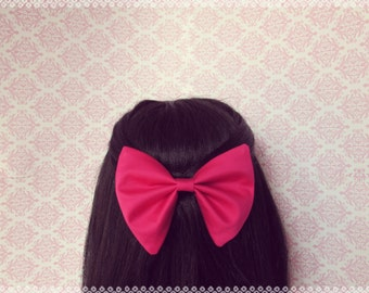Rosiest of Them All Hair Bow - French Barrette, Girly Hair Bow, Pretty Pink Hair Bow Perfect Gift for Teen Girl, Valentine's Day Gift