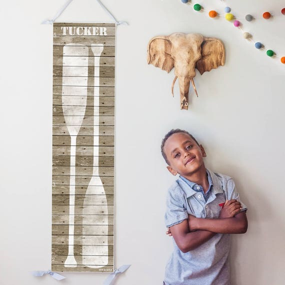 Personalized rustic wood nautical growth chart with boat oars