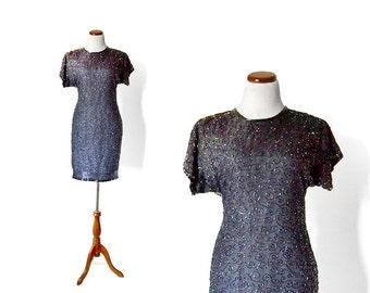 SALE - Laurence Kazar Sequin Dress / 80s Trophy Dress / Party Dress / Little Black Dress / Womens Clothing Vintage Dress
