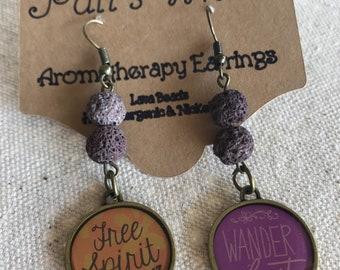 Aromatherapy Earrings, Wanderlust Earrings, Free Spirit, Lava Bead Earrings