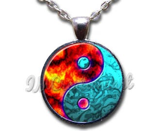 Water Fire Yin Yang Glass Dome Pendant or with Chain Link Necklace