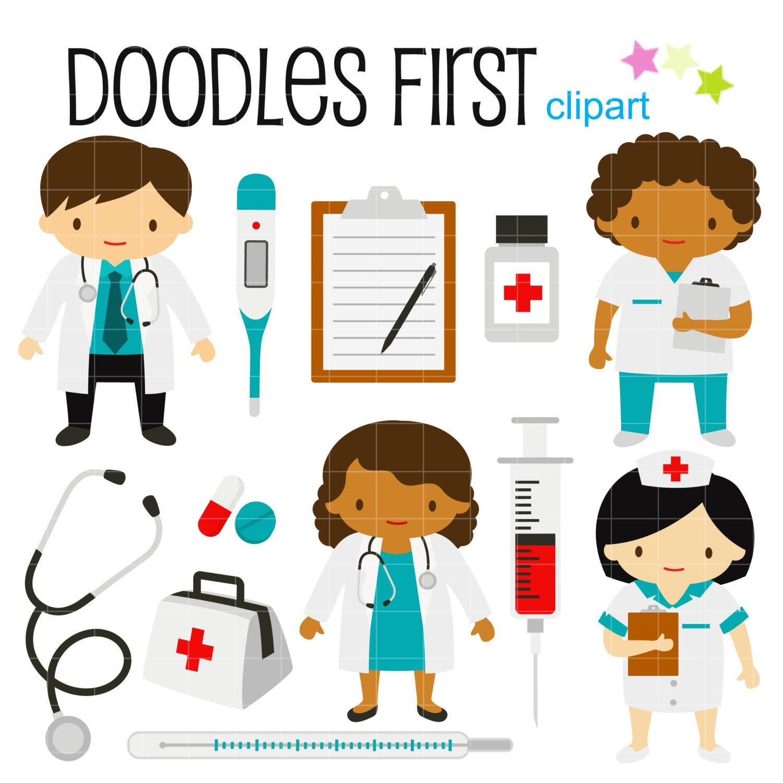 little doctors and nurses digital clip art for scrapbooking rh etsy com doctor clip art free download doctor clipart images