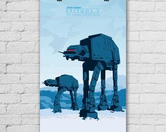 Star Wars Poster. AT-AT Art Print. Empire Strikes Back. Movie Art Print. Blue Wall Decor Art. Pop Culture & Modern Home Decor. Item No.: 139