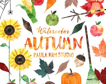 Fall Clipart, Watercolor Autumn Clip Art Set, Commercial Use, Instant Download