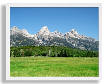 Landscape Photography Grand Teton Photo Mountains and Cabin Print Blue and Green Art Beautiful Scenery High End Photo Print Rural Barn Photo