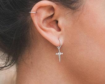 Cross earrings, Cross hoops, Silver earrings, Silver hoops, Silver jewelry, Boho jewelry, Dainty jewelry, Gold plated earrings