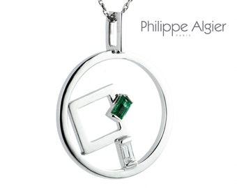 Pendant Palladium White Gold 18 k Emerald and diamond.