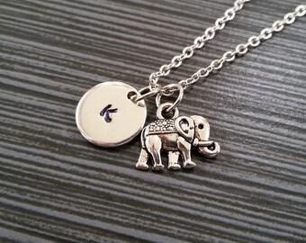 Silver Elephant Necklace - Elephant Charm Necklace - Personalized Necklace - Custom Gift - Initial Necklace - Elephant Totem Charm