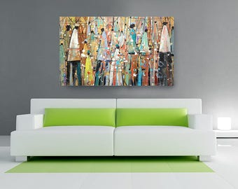Our Colorful People Canvas, African American Art, Canvas Art, Canvas Wall Art,Home Decor Art, Canvas Painting,Abstract Art, Wall Art