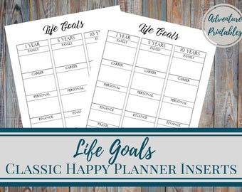 Life Goals - Printable Classic Happy Planner Page, Life Planner, Long Term Goals Planner, 5 Year Plan, 10 Years Plan, Career Goals,