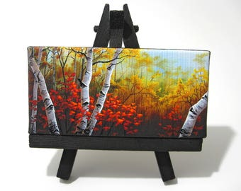 2x4 Autumn Birch Tree Forest, Mini Painting on Canvas by J. Mandrick