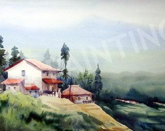 Himalayan Village -Watercolor Original painting