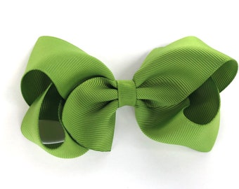 Kiwi hair bow - hair bows, bows, hair clips, hair bows for girls, girls hair bows, toddler bows, boutique bows, big hair bows, hairbows