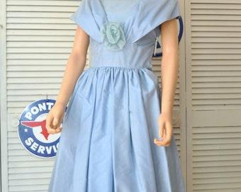 50's Vintage Taffeta-Chiffon Dress Teens Women's Semi Full Skirt Formal Bridal Wedding Powder Blue Small XS side zipper As Is distressed