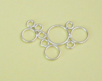Large Circles / Bubbles Link, Bali Sterling Silver .925, 31mm x 19.5mm, SL220