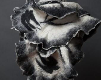 """Felted Scarf:""""Black Bird"""" (Felted scarf,ruffles, merino wool, silk, wrap shawl, felted art, handmade, Made to order)"""