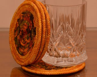 Fabric Rope Coiled: Fall Colors Earth Tones in Gold Rust Orange Yellow Green Black - Set of four (4) Coasters