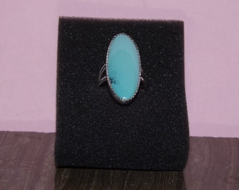 Oval Turquoise ring set in sterling silver 36mm size 5 or 6