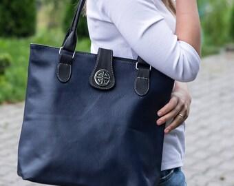 Leather Tote Bag, Shoulder Bag, Leather Bag, Large Handbag, Tote Bag, Handmade Purse, Shopper Bag, Laptop Bag, Gift, Navy Blue Leather Tote