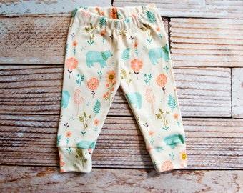 organic baby leggings, baby pants, baby leggins, toddler pants, organic toddler leggings, bear leggings, blue bear, flowers, hold you me