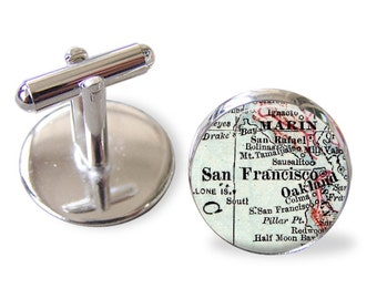 San Francisco Cufflinks, Customized cuff links for Men, Groomsmen Gift, Groom Gift, Personalized cuff links, Father Gift, Wedding Gift, A128